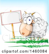 Clipart Of A Cartoon Happy Sheep By A Blank Sign Royalty Free Vector Illustration by Domenico Condello