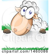 Cartoon Happy Sheep With Grass Over A Sign