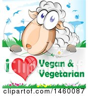 Cartoon Happy Sheep Over An I Love Vegan And Vegetarian Sign