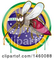 Clipart Of A Cartoon Evil Mosquito With Blood Dripping Over A Brazilian Circle Royalty Free Vector Illustration by Domenico Condello