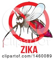 Poster, Art Print Of Cartoon Evil Mosquito With Blood Dripping In A Prohibited Symbol Over Zika Text