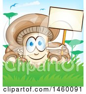 Clipart Of A Cartoon Mushroom Mascot Holding A Blank Sign Royalty Free Vector Illustration