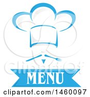 Clipart Of A Blue Chef Face Wearing A Toque Over Menu Text With Cutlery Mustach Royalty Free Vector Illustration by Domenico Condello