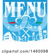 Clipart Of A Chef Hat And Food Icons Over The Leaning Tower Of Pisa And Coliseum With Menu Text Royalty Free Vector Illustration