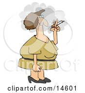 Woman In A Yellow Dress Standing Outside In A Cloud And Smoking A Cigarette On Her Break Clipart Illustration by djart