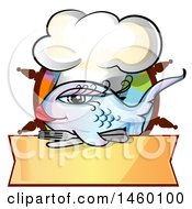 Clipart Of A Cartoon Feminine Gradient Blue And Purple Chef Fish Over A Menu Banner And Helm Royalty Free Vector Illustration
