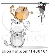 Poster, Art Print Of Cartoon Tower Of Cats Trying To Get A Mouse
