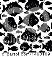 Seamless Background Of Black And White Fish