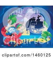 Clipart Of A Crab In A Cave With A View Of A Pirate Ship Royalty Free Vector Illustration