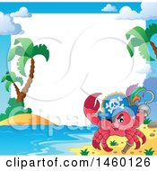 Clipart Of A Border Of A Pirate Crab On A Tropical Beach Royalty Free Vector Illustration