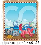 Clipart Of A Parchment Border Of A Pirate Crab Royalty Free Vector Illustration