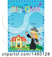 Clipart Of A Diploma Template With A Graduate Girl Royalty Free Vector Illustration by visekart