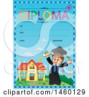 Clipart Of A Diploma Template With A Graduate Boy Royalty Free Vector Illustration by visekart