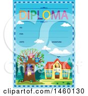 Diploma Template With Owls