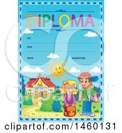 Clipart Of A Diploma Template With Children Royalty Free Vector Illustration