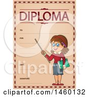 Diploma Template With A Female Teacher