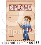 Diploma Template With A Male Teacher