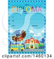 Diploma Template With A School Bus Building And Owl