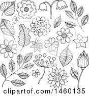 Sketched Black And White Flowers