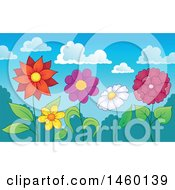 Poster, Art Print Of Row Of Flowers Under A Summer Sky