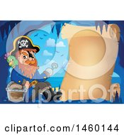 Clipart Of A Parchment Scroll In A Cave With A Pirate And Treasure Royalty Free Vector Illustration