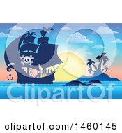 Clipart Of A Pirate Ship Near An Island At Sunset Royalty Free Vector Illustration by visekart