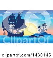 Pirate Ship Near An Island At Sunset