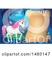 Clipart Of A Parchment Scroll In A Cave With A Unicorn Royalty Free Vector Illustration by visekart