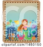 Clipart Of A Parchment Border Of A Mermaid And Creatures With Sunken Treasure Royalty Free Vector Illustration