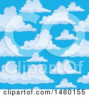 Clipart Of A Background Of Blue Sky With Puffy Clouds Royalty Free Vector Illustration