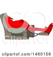 Chubby Red Devil Sleeping In A Recliner Chair