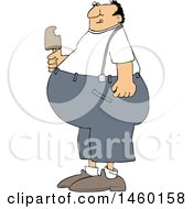 Cartoon Fat Man Eating Ice Cream