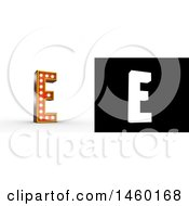3D Vintage Theater Styled Letter E Design With Light Bulbs Illuminating It