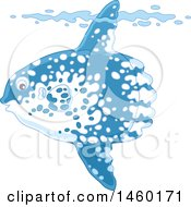 Clipart Of A Moonfish Underwater With His Top Fin Sticking Out Of A Wave Royalty Free Vector Illustration