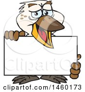 Clipart Of A Kookaburra Bird Holding A Blank Sign Board Royalty Free Vector Illustration by Dennis Holmes Designs