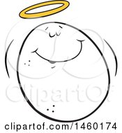 Clipart Of A Cartoon Angel Good Egg With A Halo Royalty Free Vector Illustration