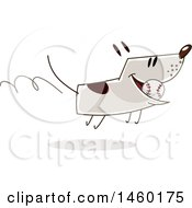Clipart Of A Happy Dog Running With A Baseball Royalty Free Vector Illustration