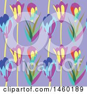 Clipart Of A Background Of Tulip Flowers Royalty Free Vector Illustration by Frisko