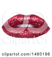 Clipart Of A Womans Mouth With Dark Sparkly Glitter Lipstick Royalty Free Vector Illustration by dero