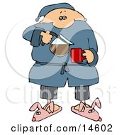 Sleepy Man In Pjs And Bunny Slippers Pouring Himself A Cup Of Fresh Hot Coffee In The Morning Clipart Illustration