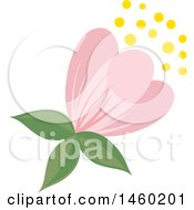 Clipart Of A Pink Flower Royalty Free Vector Illustration