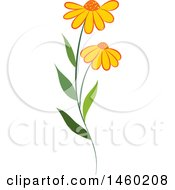Clipart Of A Plant With Daisy Flowers Royalty Free Vector Illustration