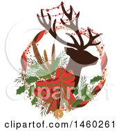 Clipart Of A Silhouetted Christmas Reindeer With Decor In A Wreath Royalty Free Vector Illustration