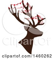 Clipart Of A Silhouetted Christmas Reindeer With Decor Royalty Free Vector Illustration
