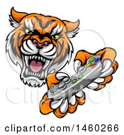 Tiger Mascot Playing A Video Game
