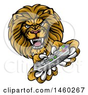 Clipart Of A Male Lion Playing A Video Game Royalty Free Vector Illustration