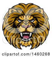Clipart Of A Tough Male Lion Head Mascot Royalty Free Vector Illustration