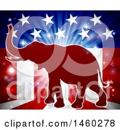 Clipart Of A Red Silhouette Of A Republican Elephant Over An American Flag Themed Burst Royalty Free Vector Illustration