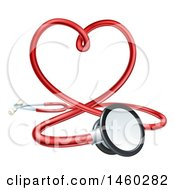 Clipart Of A 3d Medical Stethoscope Forming A Red Love Heart Royalty Free Vector Illustration by AtStockIllustration