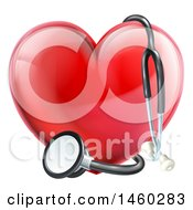 Clipart Of A 3d Medical Stethoscope Around A Red Love Heart Royalty Free Vector Illustration by AtStockIllustration